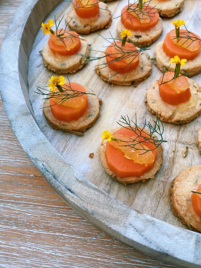 carotte sablé fenouil crémeux agrumes tagete